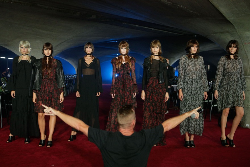 Michael Boyd directing models at Myer AW17